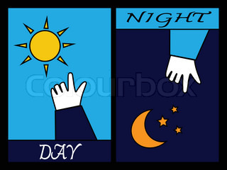 Hand pointing sun and moon concept