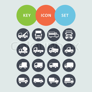 truck van cargo transport delivery icon set