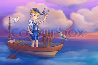 boy is sailing in the boat