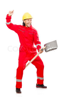 Man in red coveralls with spade