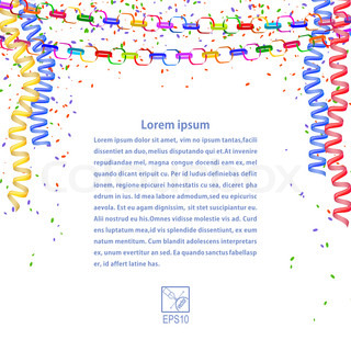 Festive garland, confetti, streamers isolated on white background. Vector illustration.