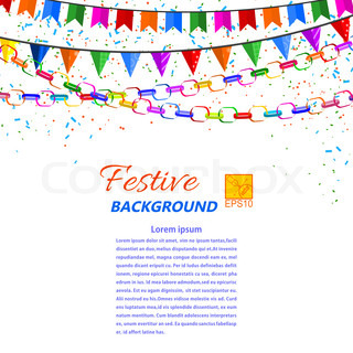 Festive garland, streamers and flags isolated on a white background. Vector illustration.