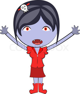 Cartoon happy vampire girl Cute doodles drawings | Vector ...
