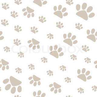 Seamless Pattern With Pet Paws Walking In Different Sides