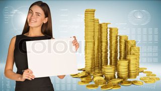 Business woman hold empty paper. Pyramid of gold coins