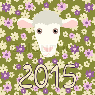 Retro card with cartoon sheep and flowers for Christmas and New Year 2015