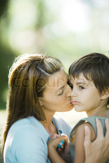 Image of 'children, caring, kissing'