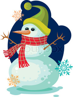 Smiling snowman for Christmas greetings card