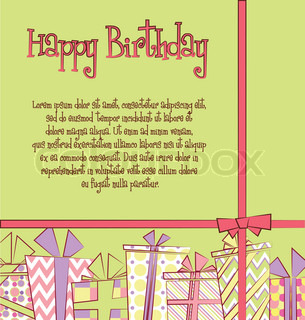 Vector birthday card with gift boxes in different wrappings with ribbons and bows