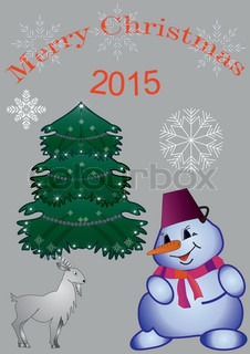 a large snowman with a goat and spruce