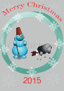 the snowman and the sheep in the center of the circle