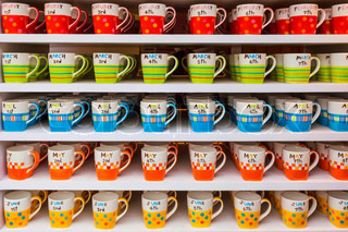 layer of colorful cups coffee or tea