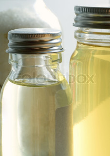 Close-up of essential oils bottles