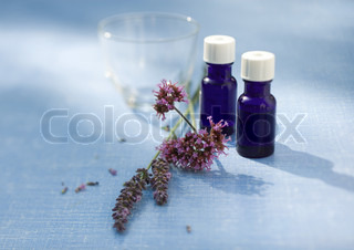 Essential oils and herb blossoms