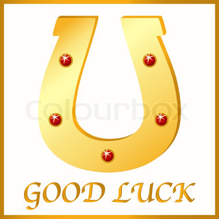 Gold Horseshoe Icon Vector Fortune Luck Symbol St