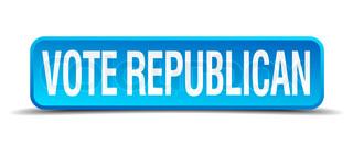 Vote republican blue 3d realistic square isolated button