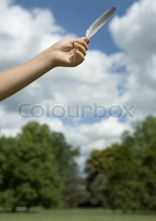 Child's arm holding up feather