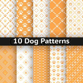 Set of dog seamless vector pattern