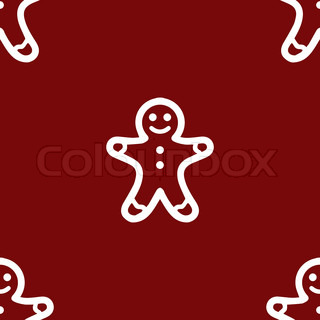 Gingerbread web icon. flat design. Seamless gray pattern.