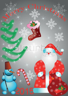 Santa Claus with bag and snowman