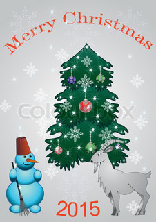 spruce with sheep and snowman