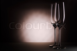 two empty champagne glasses