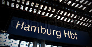 Sign showing Hamburg Central station in German.