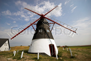 Danish Windmill. Old restored windmill on Danish island Mandoe