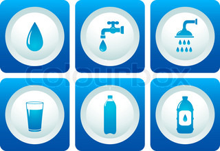water and plumbing icon set