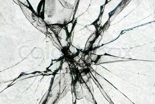 A broken window. Close Up.