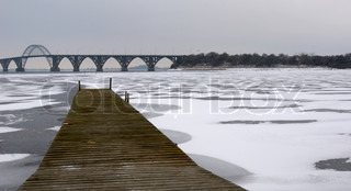 Frozen sea at Møns bridge in Denmark
