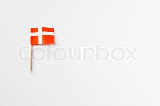 Danishflag in einem Zahnstocher