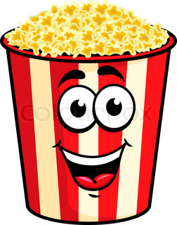 Smiling Popcorn Box In Cartoon Style For Snack Design