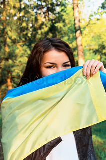 woman flag ukraine
