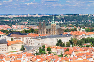 cityscape of Prague with Vitus cathedral