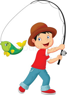 Cute Boy Fishing Cartoon Stock Vector Colourbox
