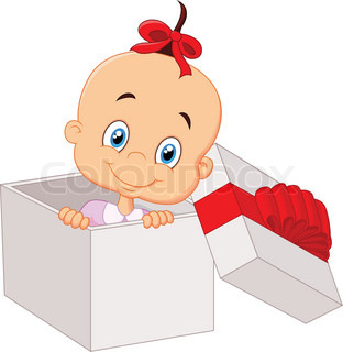 Cartoon Little baby girl inside open gift box