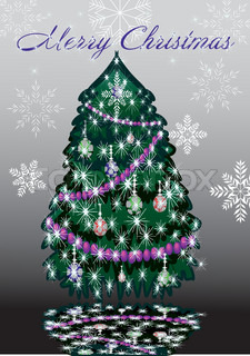 Christmas tree with decorations and garlands