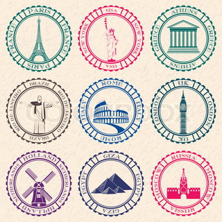 Stickers of Travel. Vector Illustration.