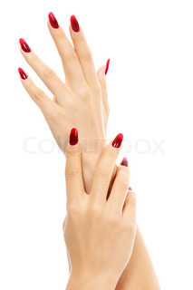 Female Hands With Red Fingernails White Background Isolated