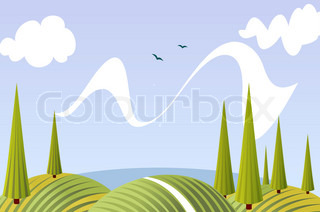 Cartoon summer fields and meadows landscape