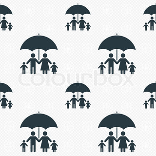 Graphic Of Secure Family People Icons Amp Umbrella Safeguard