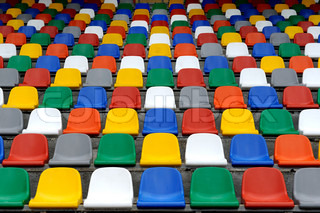 Plastic colorful chairs stands