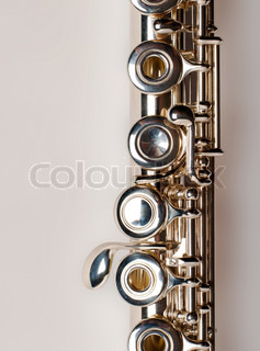 Silver flute. isolated with clipping path