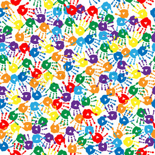 Seamless background with multi-colored handprints