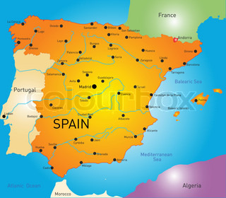 Spain Map Stock Vector Colourbox