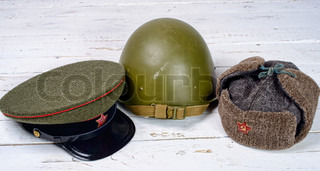 several headpieces soldier of the Red Army