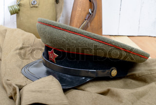 soviet soldier cap on the white background