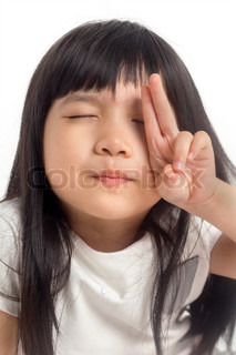 Child counting with eye closing