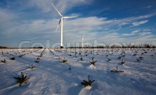 Image of 'windmill, winter, wind turbine'